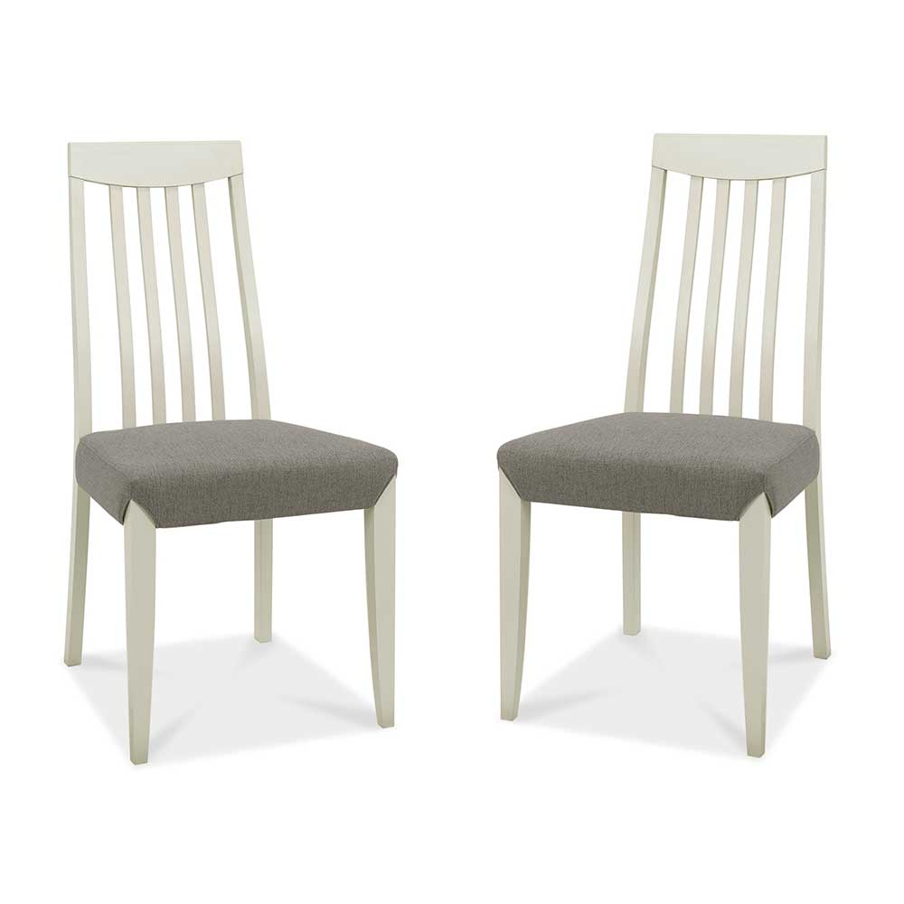 Burnham Slat Back Grey Washed Oak & Soft Grey Chair Pair - Titanium
