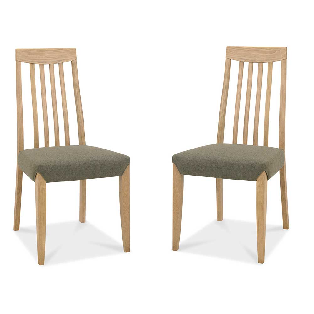 Burnham Slat Back Oak Chair Pair - Black & Gold