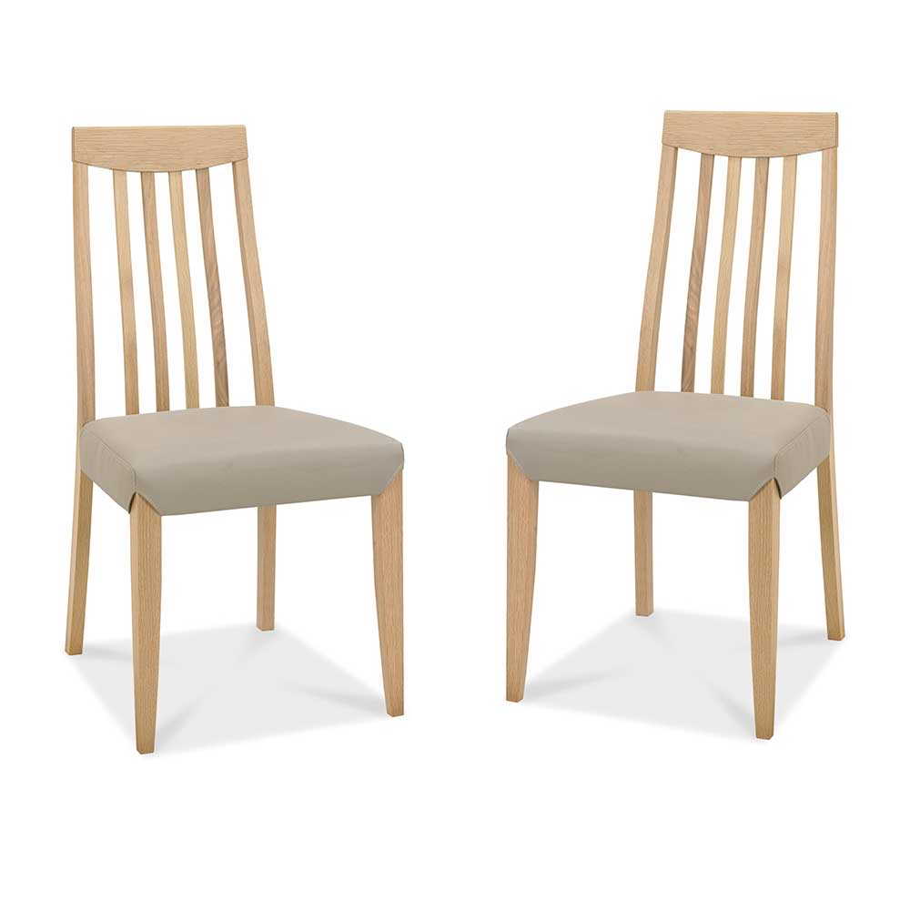 Burnham Slat Back Oak Chair Pair - Grey Faux Leather