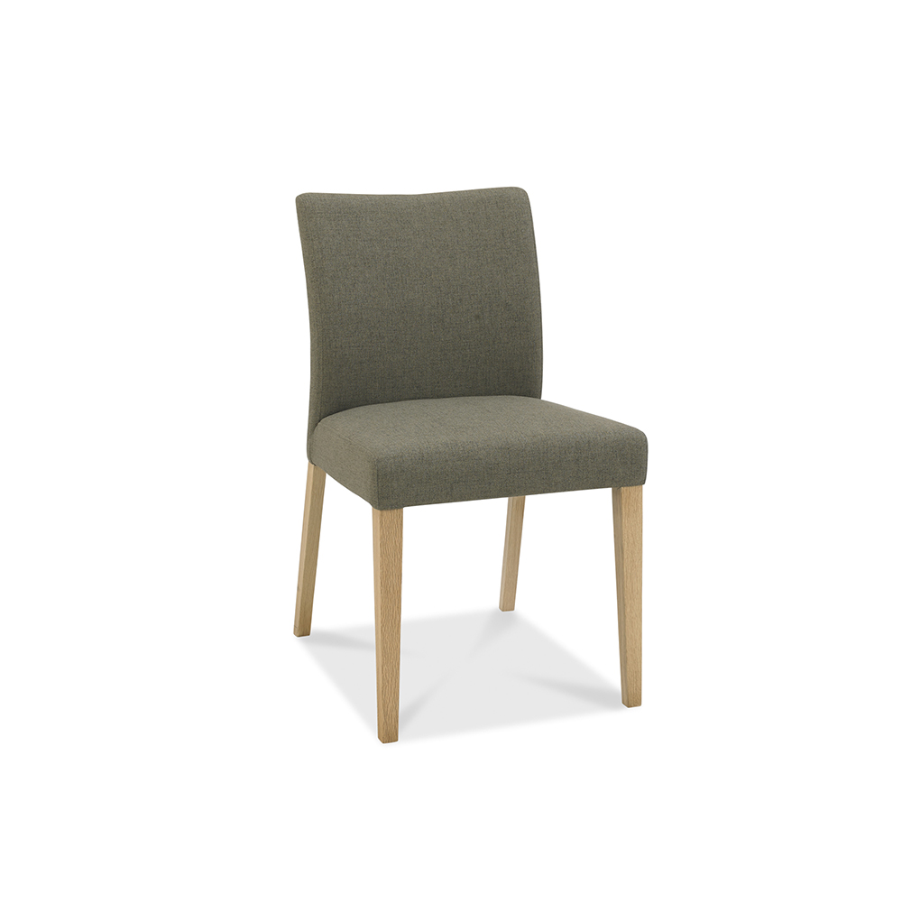 Burnham Upholstered Chair Grey Washed Oak & Soft Grey - Black Gold