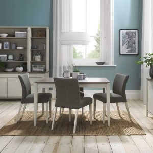 Burnham Extending Table & 4 Chairs Grey Washed Oak & Soft Grey