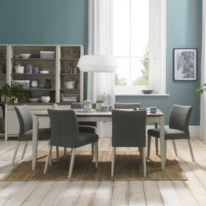 Burnham 4-6 Person Extending Table & 6 Upholstered Chairs Washed Oak & Soft Grey - Cold Steel