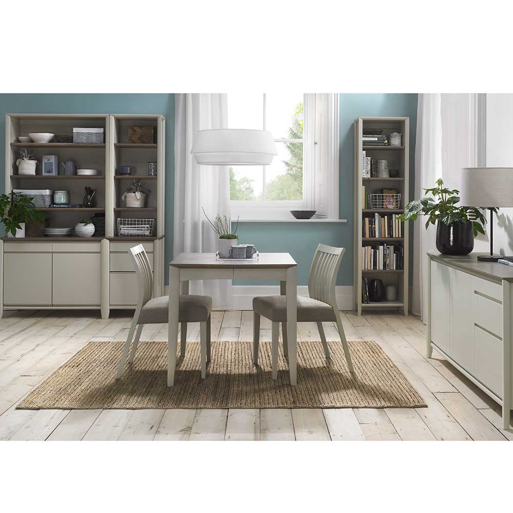 Burnham 2-4 Person Extending Table & 2 Low Slat Back Chairs Washed Oak & Grey - Grey Faux Leather