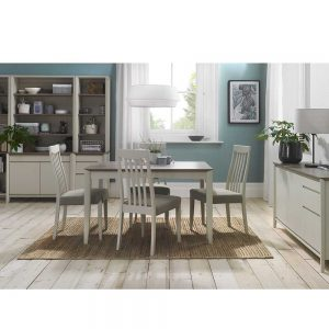 Burnham 4-6 Person Extending Table & 4 Slat Back Chairs Grey Washed Oak & Grey - Grey Faux Leather