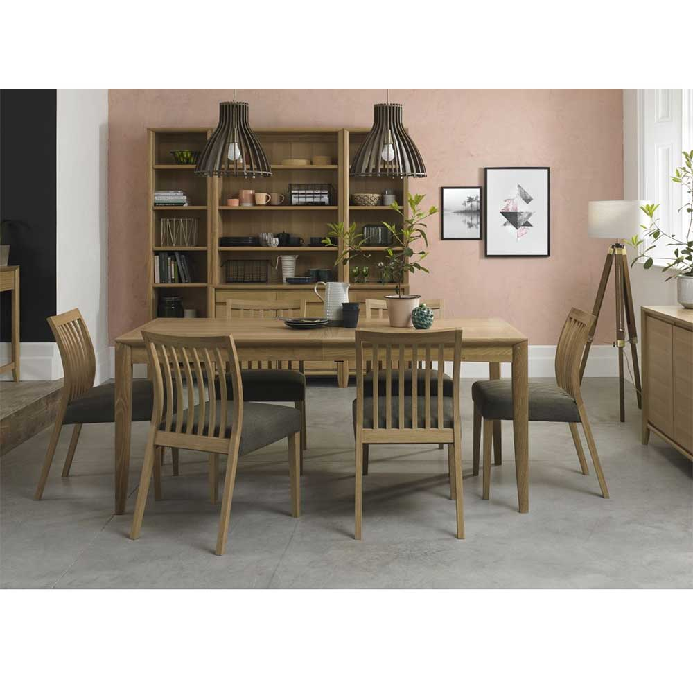 Burnham 6-8 Person Extending Table & 6 Low Slat Back Chairs Oak - Black Gold