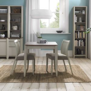 Burnham 2-4 Person Extending Table & 2 Low Slat Back Chairs Washed Oak & Soft Grey - Black Gold