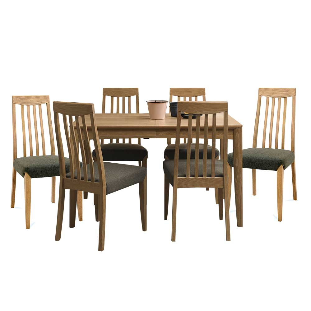 Burnham 4-6 Person Extending Table & 6 Slat Back Chairs Oak - Black Gold