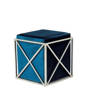 Georgia Stool Blue & Silver