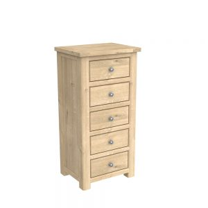 Brittany 5 Drawer Tall Chest Oak