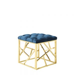 Zoey Stool Blue & Silver