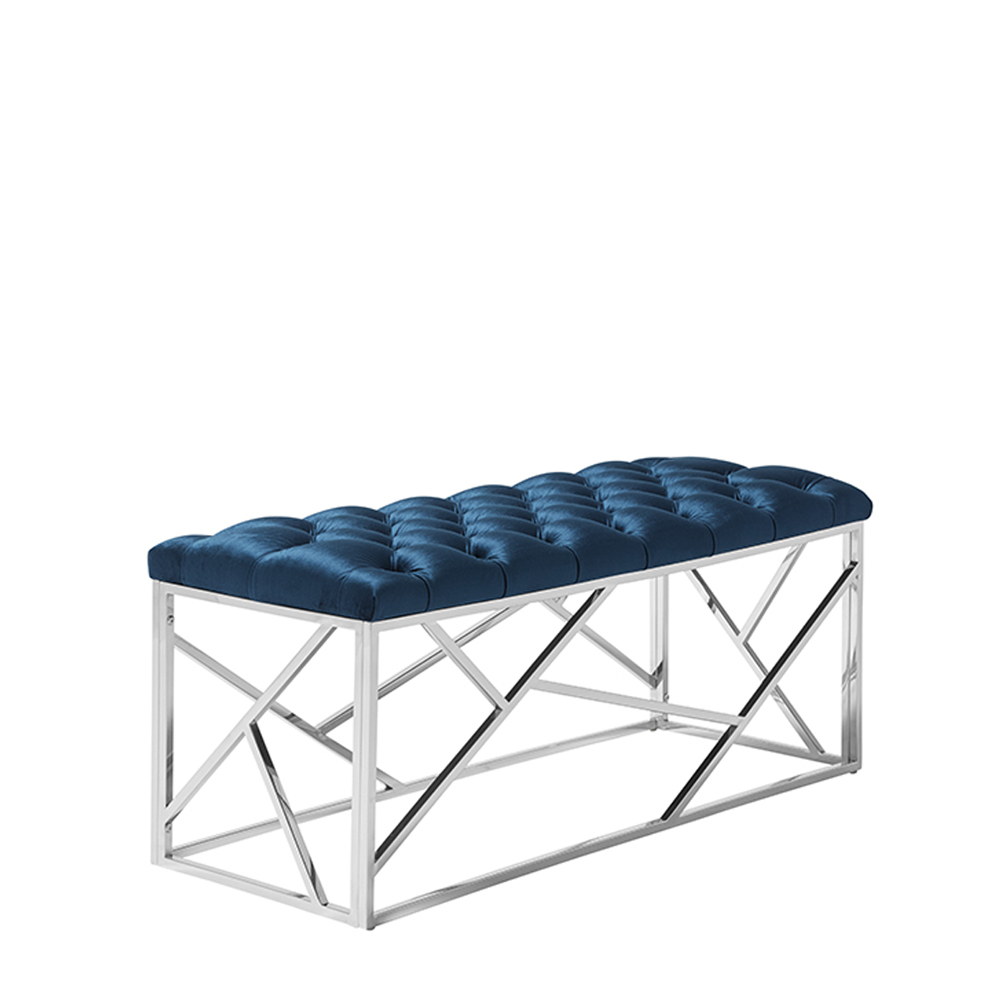 Zoey Bench Blue & Silver