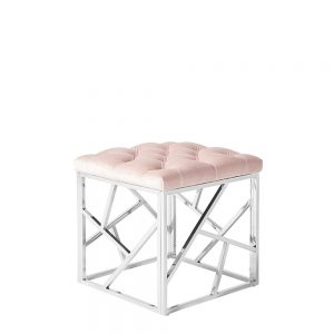 Zoey Stool Pink & Silver