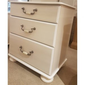 emilia 3 drawer wide bedside washed cream