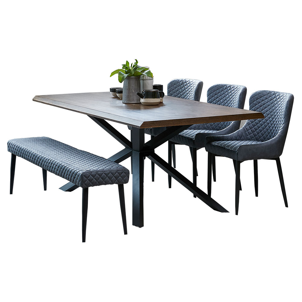 Arno Dining Table With 3 Ontario Chairs And Bench Grey