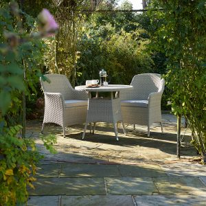 Holkham 80cm Tree-Free Round Bistro Table With 2 Armchairs - Nutmeg