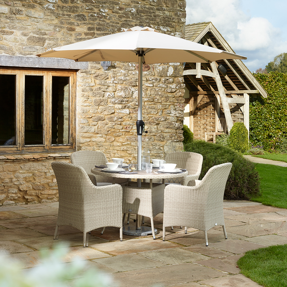 Holkham 110cm Tree-Free Round Table With 4 Armchairs - Nutmeg