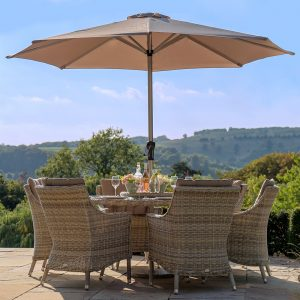 Bramblecrest Ascot 140cm Round Table & 6 Chairs Including Lazy Susan