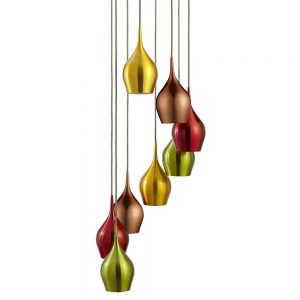 Vibrant 8 Light Pendant Multi Coloured