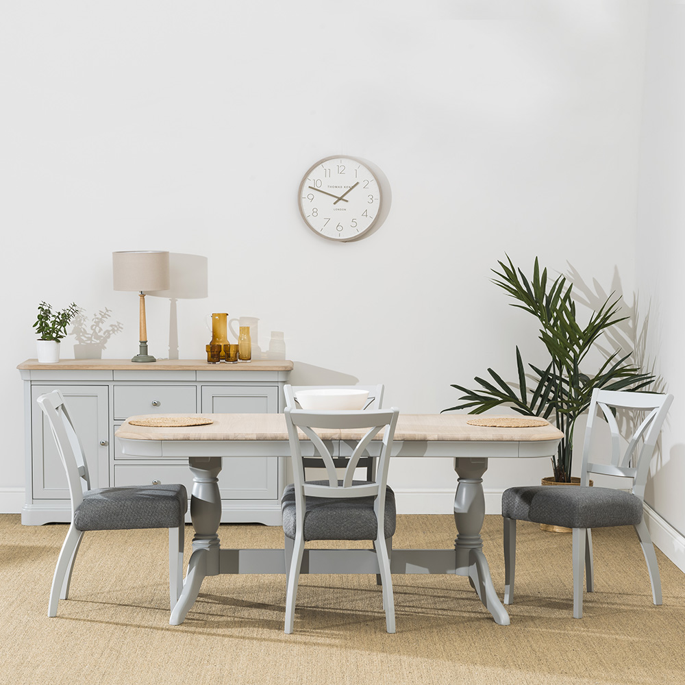 Stag Crompton Extending Dining Table and 4 Fabric Dining Chairs
