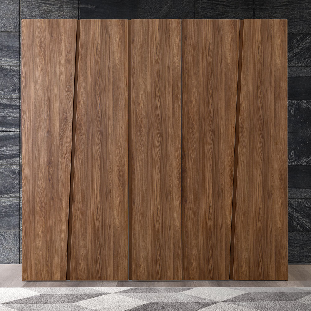 Milan Walnut Wardrobe 5 Door