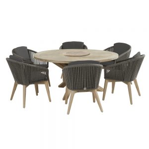 Santander Louvre 160cm Dining Table Inc Lazy Susan & 6 Dining Chairs With Cushions