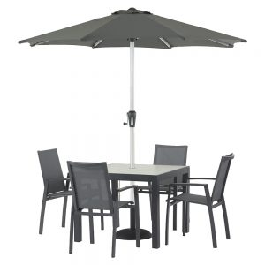 Modica 95cm x 95cm Square Dining Table With 4 Textilene Dining Chairs