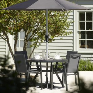 Modica 110cm Round Dining Table With 4 Textilene Dining Chairs