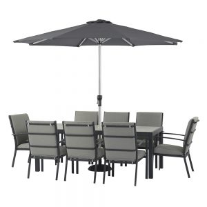 Modica 206cm x 95cm Rectangular Dining Table & 8 Dining Chairs With Season Proof Cushions