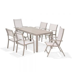 Milan Rectangular Dining Table With 4 Stacking Dining Chairs & 2 Recliners