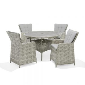 Eden Project Salerno Round Dining Table & 4 Carver Chairs