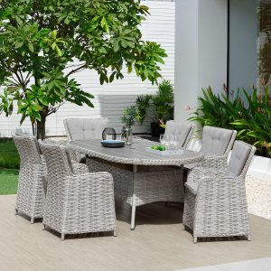 Eden Project Salerno Oval Dining Table & 6 Carver Chairs