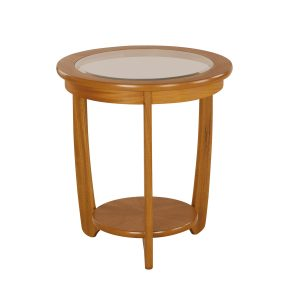 Shades Teak Glass Top Round Lamp Table
