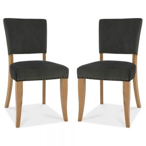 Pair of Rustic Upholstered Dining Chairs Grey Fabric