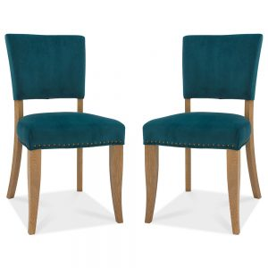 Pair of Rustic Upholstered Dining Chairs Sea Green Velvet