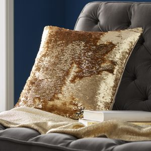 Tess Daly Sequin Gold Cushion 43x43cm