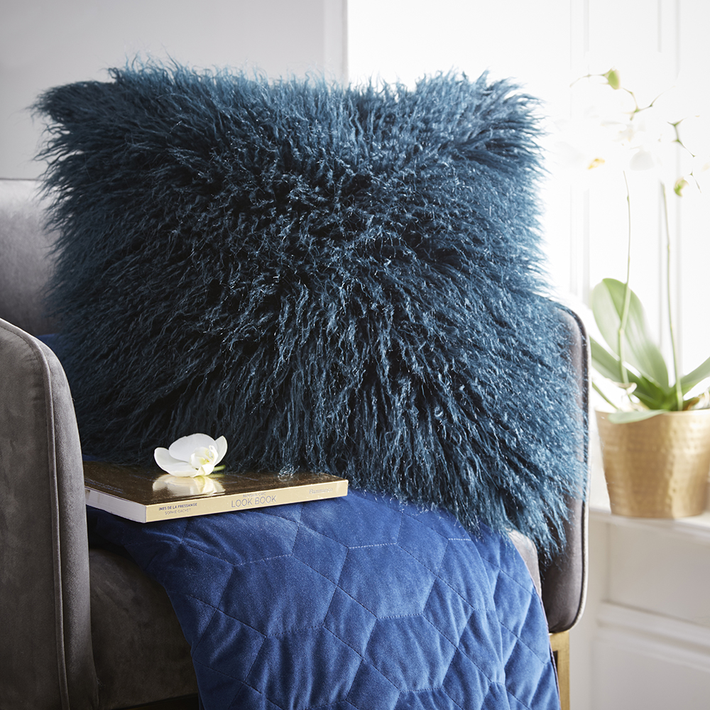 Tess Daly Faux Mongolian Cushion Midnight 43x43cm