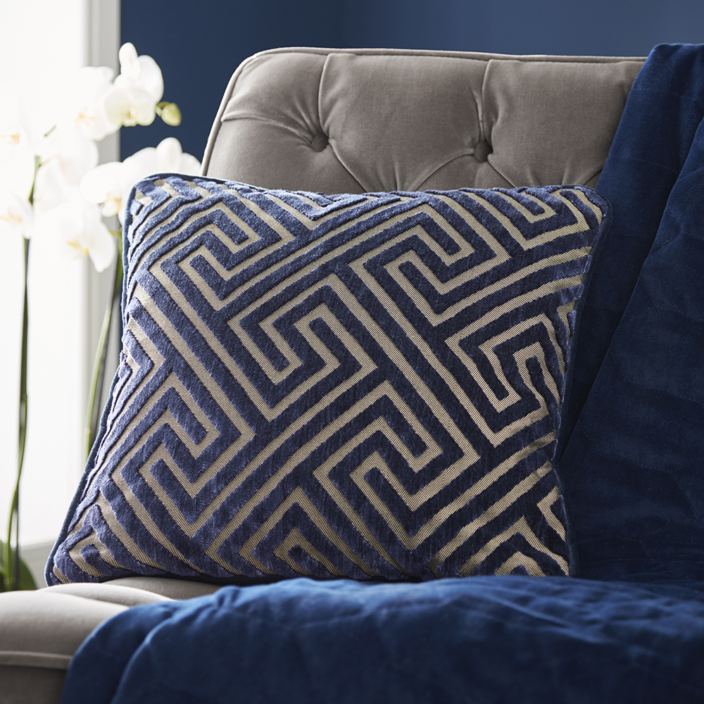 Tess Daly Greek Key Cushion Midnight 43x43cm