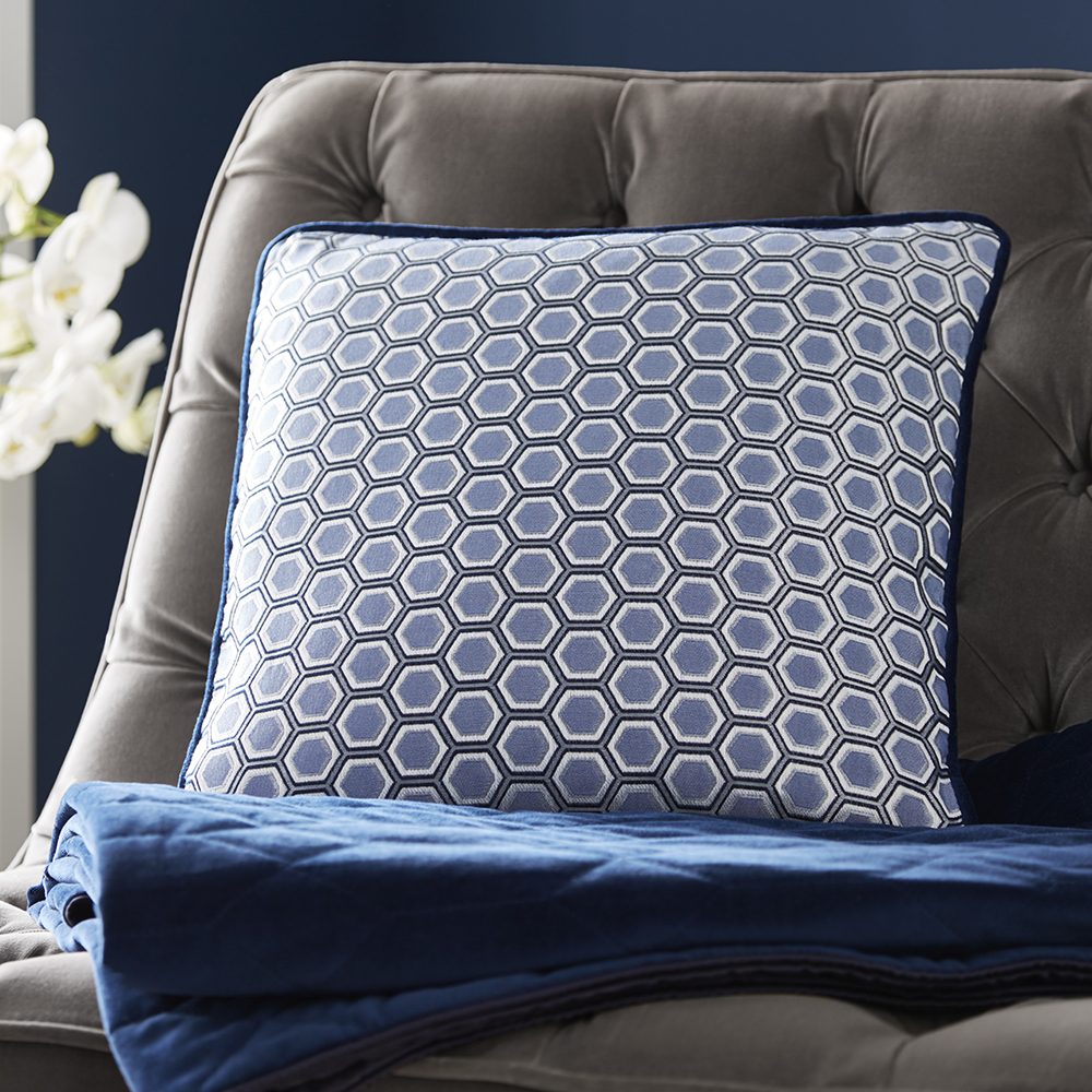 Tess Daly Hexagon Square Cushion Midnight 43x43cm