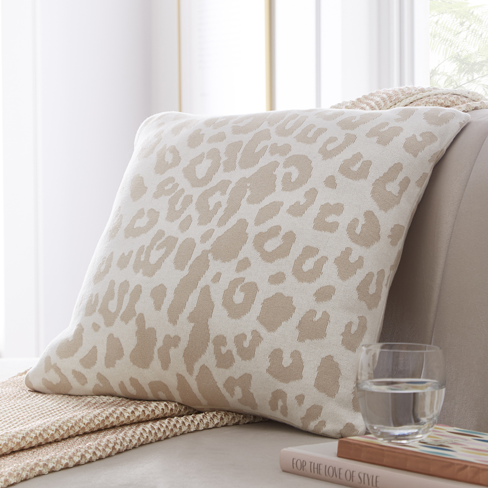Tess Daly Leopard Knit Cushion 50x50cm