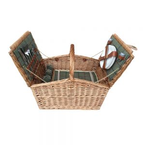 4 Person Green Tweed Double Lid Hamper