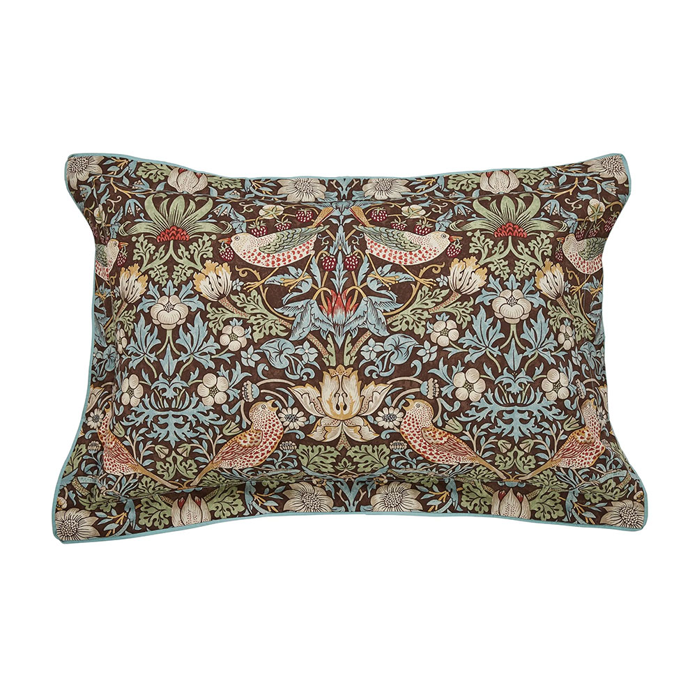 William Morris Strawberry Thief Oxford Pillowcase Brown