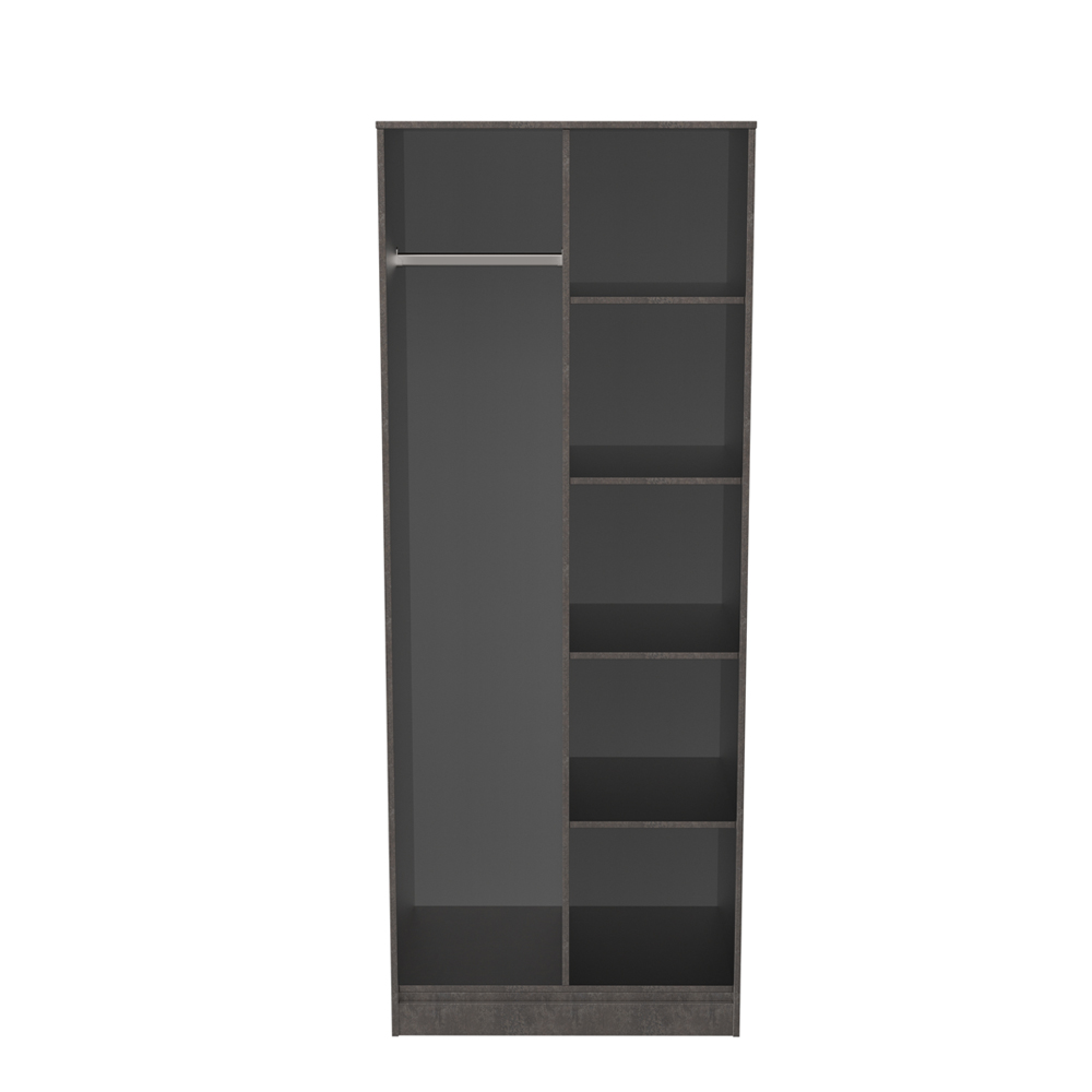Dakota Open Shelf Wardrobe Pewter