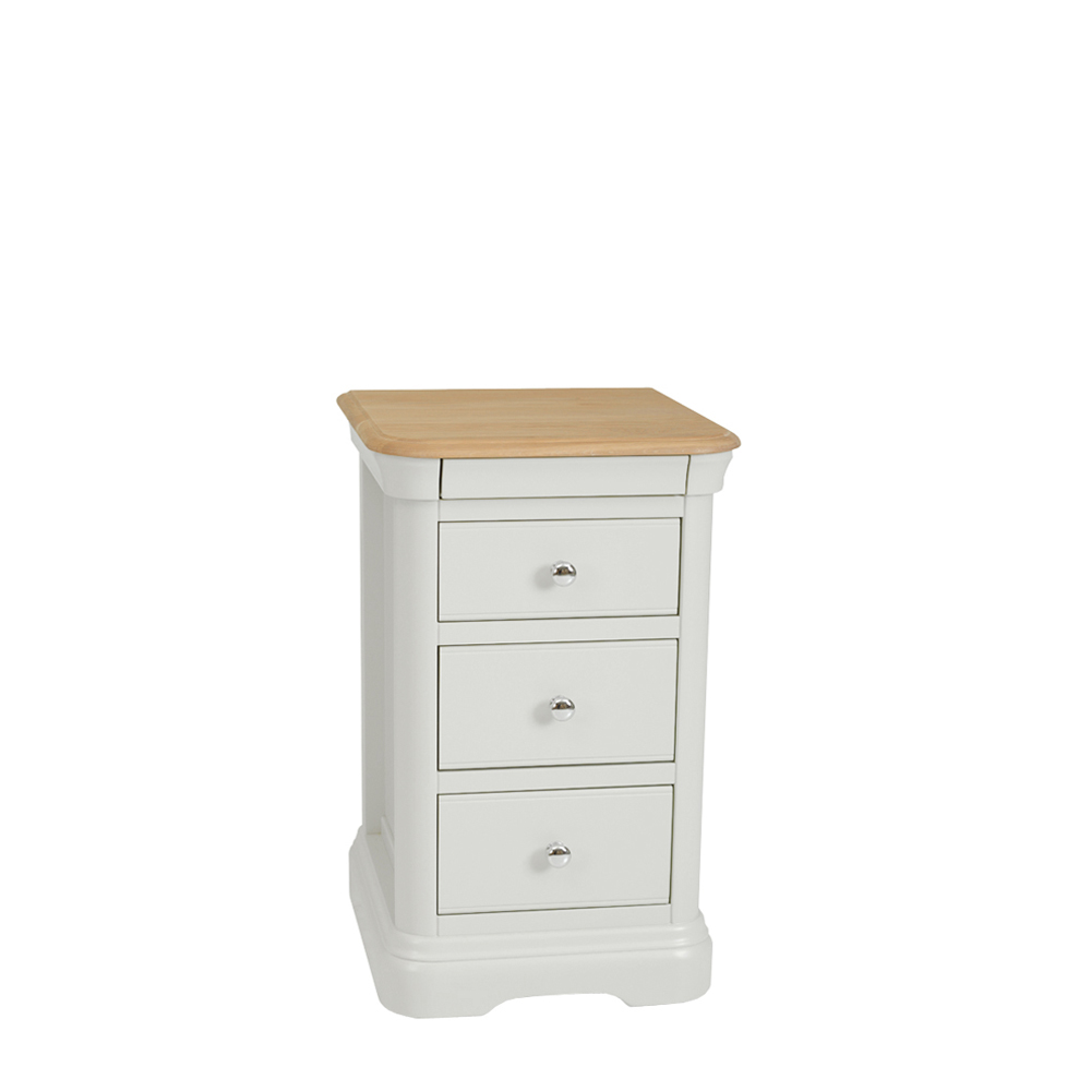 Stag Crompton Premier 3 Drawer Narrow Bedside Morning Dew & Lacquer
