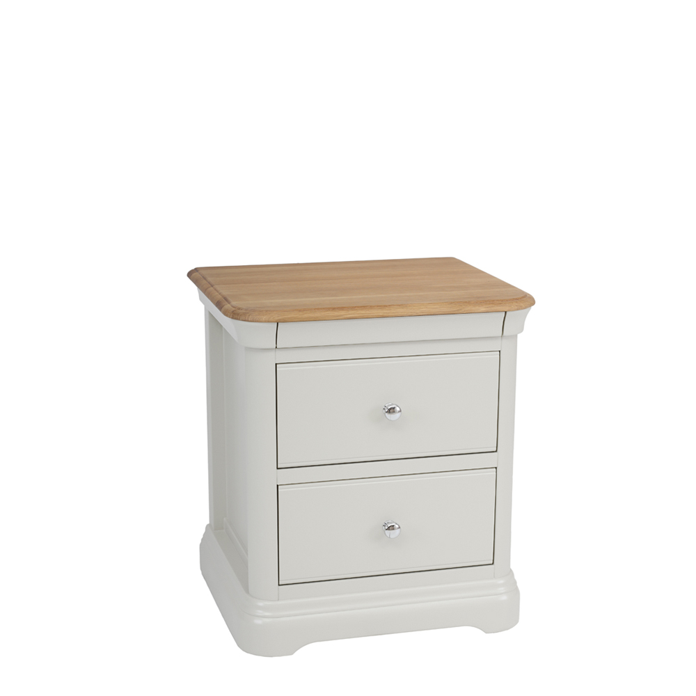 Stag Crompton Premier Large 2 Drawer Bedside Morning Dew & Lacquer