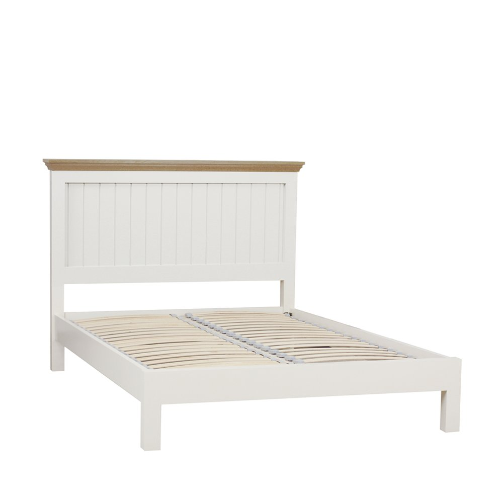 CHATSWORTH PAINTED & OAK TOPS PREMIER DOUBLE PANEL BED L/F END IW/LACQ ONLY (self assembly)