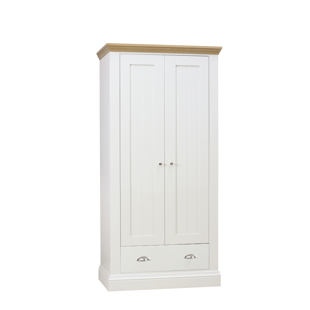Chatsworth Painted & Oak Premier Narrow Wardrobe Ice White