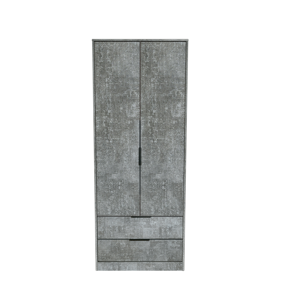 Dakota 2 Drawer Wardrobe Pewter
