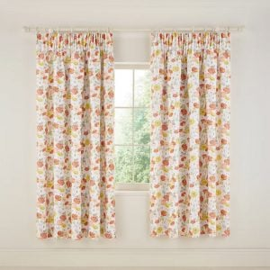 V&A Poppy Garden Lined Curtains 66 x 72""