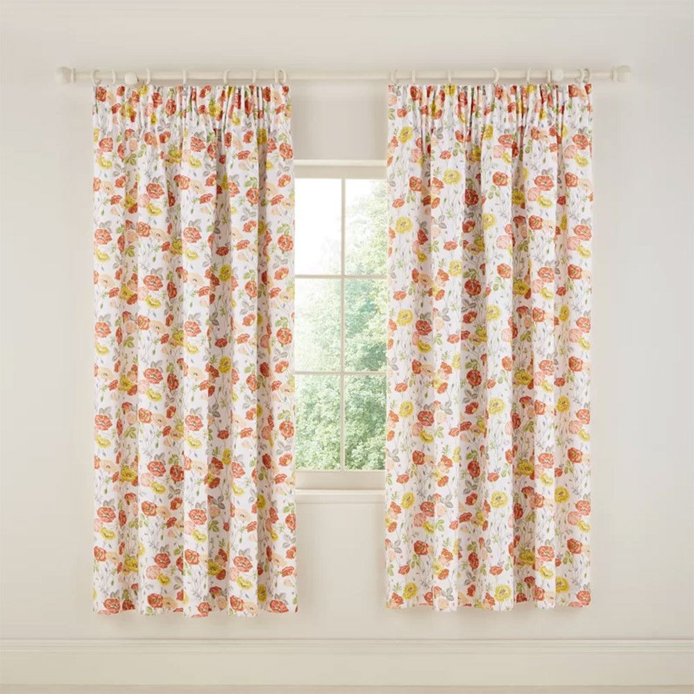 V&A Poppy Garden Lined Curtains 66 x 72