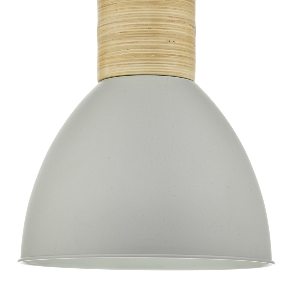 Adna 1 Light Pendant Grey & Wood